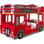 Lit Superposé Enfant Bus londres 90x200cm Rouge - Paris Prix