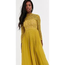 Robes en dentelle Little mistress Tall jaunes mi-longues à manches longues tall pour femme