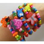 Lot 5 Bracelets Bijoux Fantaisie Enfants Perles De Couleurs Multicolore En Bois Fille Cadeau Mode Neuf