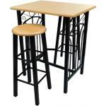 Lot de 2 tabourets de bar chaise avec table haute set bois acier design cuisine salon 1202006/2