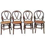Lot de 4 chaises bistrot vintage cannées par J Pergay, 1982