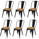 Lot de 6 chaises de salle à manger style industriel factory métal noir et assise en bois CDS09283