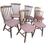 Lot de 6 chaises style western bistrot bois 1960