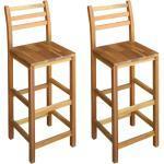 Lot de deux tabourets de bar design chaise siège bois massif d'acacia 1202053