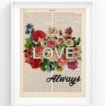 Love - Motivational Quote Print With Flowers, Positive Quote, Inspirational Art, Vintage Book Page 182