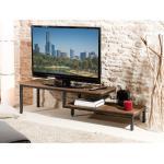MACABANE Meuble tv en teck recyclé double plateaux et 6 pieds en métal L161 cm KRISTINE