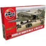 Maquette Avion Et Véhichule Militaires : Douglas Dakota Mkiii Et Jeep Willys-Airfix