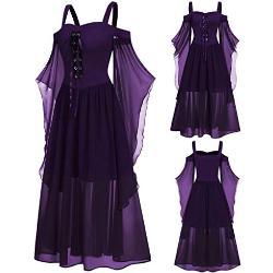 Robes violet foncé à motif papillons à manches longues à capuche maxi à manches longues à épaules dénudées plus size look médiéval pour femme