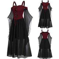 Robes rouges à motif papillons à manches longues à capuche maxi à manches longues à épaules dénudées plus size look gothique pour femme