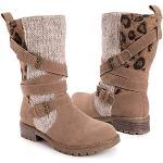 Chaussures kaki à motif papillons respirantes à bouts pointus pour pieds larges à scratchs look fashion pour femme