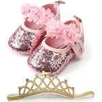 Minuya Chaussures de Bébé,Chaussures Bebe Fille Cuir Souple Semelle Confortable avec Bande de Cheveux Ete Mary Jane Chaussures Premiers Pas pour Bébé Fille 0-18 Mois
