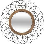 Miroir Fleur , métal bois D90 cm