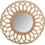 Miroir Fleur , rotin D50 cm