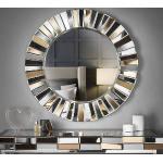 Miroir mural rond effet miroir 3D, salon, couloir (or rose)