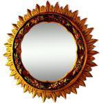 Miroir soleil en bois doré France 1980 70cm.