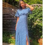 Robes empire bleues mi-longues à col rond tall look casual pour femme