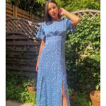 Vêtements bleus mi-longs à col rond tall look casual pour femme