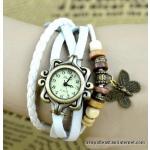 Montre Bracelet - Style Hippie Chic, Rétro, Vintage - Cuir Blanc Tressé Avec Perles Et Breloque Papillon