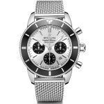 Montre Breitling Superocean Heritage II B01 chronograph automatique cadran argenté bracelet maille milanaise 44 mm Homme