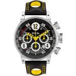 Montre BRM V12 automatique inox cadran noir aiguilles jaunes bracelet cuir 44 mm Homme