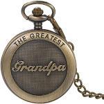 Montre de poche à quartz avec gravure « The greatest Grandpa » style gothique steampunk en acier inoxydable avec chaîne Bronze