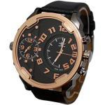 Montre Homme Homme Gros Cadran Couleur Gold Or Rose Only The Brave 2 fuseaux horaires