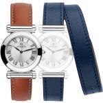 Montre Michel Herbelin Coffret Antarès quartz cadran argenté bracelets orange et bleu 29 mm Femme