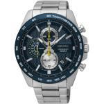Montre Seiko Sport quartz chronographe cadran bleu trotteuse jaune bracelet acier 44 mm Homme