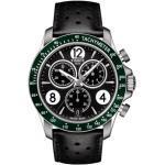 Montre Tissot T-Sport V8 quartz chronographe lunette verte cadran noir bracelet cuir perforé noir 42,5 mm Homme
