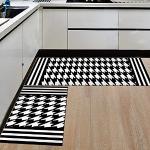Morbuy Tapis de Cuisine Interieur Lavable Anti Slip Chambre à Coucher Salon Tapis d'Entrée Absorbant Antidérapant (40 120CM, Pied de Poule)