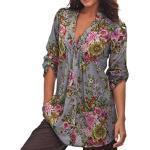 MORCHAN Femmes Vintage Floral Print V-Cou Tunique Tops Mode féminine Plus Tops (XXXXXL, Gris)