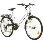 Multibrand Distribution Probike Folding City Vélo Pliant de 24 Pouces à 6 Vitesses pour Femmes, Filles adaptées de 135 à 160 cm (Gris Violet + Garde-Boue)