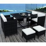 MUNGA 8 Places - Ensemble encastrable salon / table de jardin résine tressée-Noir/Ecru - Noir
