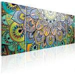 murando Impression sur Toile intissee Mandala 225x90 cm Tableau 5 Parties Tableaux Decoration Murale Photo Image Artistique Photographie Graphique Abstrait Art f-A-0618-b-m