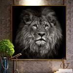 N/A Impressions décoratives sur Toile Regard Triste tête de Lion Art Mural Toile Impression Affiche Photo Animal Affiche Photo Moderne Abstrait Populaire Salon décoration-60x60cm