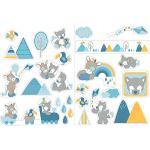 Nattou Stickers Muraux pour Chambre d'Enfant, 2 Pièces, Tim et Tiloo, Bleu