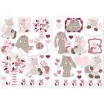 Nattou Stickers Muraux pour Chambre d'Enfants, 2 Feuilles, Nina, Jade et Lili, Beige/Rose