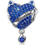 NINAQUEEN Charm Pandora Pierre de Naissance Septembre Saphir Cadeau Femme Argent 925 Zircone Cadeaux pour Femme
