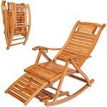no brand Chaise Longue Pliante Rocking Chair Heavy Duty Bambou Fauteuil avec Repose-Pieds avancé Cinq Angle réglable Older Leisure Lounge Chair pour terrasse, Balcon, Jardin