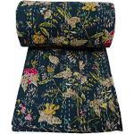 Noir indien X Couette, Couvre-lit, isari indien courtepointe, en coton bio à la main embroidery-reversible cousu à la main Couvre-lit Lit, 152,4x 228,6cm. Par bhagyoday
