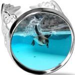 Océan Antarctique Pingouin Science Nature Photo Bague De Fiançailles Ajustable De Mariage D'amour