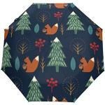 Orediy Parapluie pliable automatique avec motif écureuil et arbre de Noël - Coupe-vent - Portable - Résistant au soleil et à la pluie