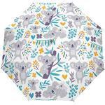 Orediy Parapluie pliant automatique motif koala avec motif floral - Coupe-vent - Portable - Résistant au soleil et à la pluie