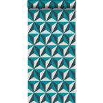 Origin Papier peint graphique 3D - 53 cm x 10,05 m de turquoise - Origin