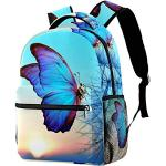 Out of Office Sac à Dos Insecte Bleu Papillon Sac à Dos Enfant Sac à Dos Imperméable Décontracté avec Postuler à Les Adolescents 29.4x20x40cm