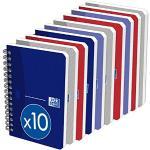 OXFORD Lot de 10 Carnets Essentials 9x14cm Petits Carreaux 100 Pages Reliure Spirale Couverture Carte Coloris Assortis
