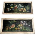 Paire de tableaux vintage de fruits et de fleurs, Italie