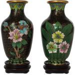 Paire De Vases Chinois Miniatures D'Urne Cloisonne Avec Des Fleurs Tulipe Et Fleur Sur Stands, L'Émail Le Décor Asiatique Maison Laiton