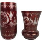 Paire de vases vintage en verre Rouge Rubis Egermann Tchécoslovaquie 1940