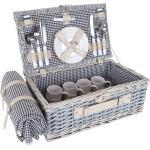 Panier pique-nique noir et blanc en osier pour 4 personnes avec couvert assiettes verres DIV04016